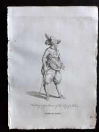 Jefferys 1772 Costume Print. Habit of a Gentleman of the City of Milan. Italy